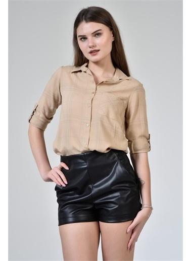 Rodi Jeans Kadın Çizgili Kol Katlamalı Gömlek DS21YB453639 Camel